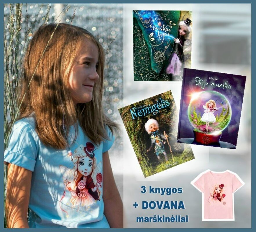 Knygų rinkinys ir marškinėliai